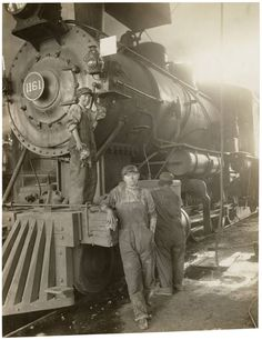 """""""War Activities. Women taking place of men on Great Northern Railway at Great Falls""""  By an unknown photographer,Great Falls, Montana, probably March 1919"""