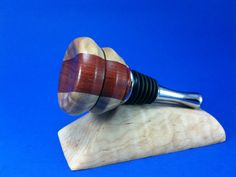 Padauk and Canarywood Wine Bottle Stopper - Similar designs can be custom ordered at www.willsturn.com