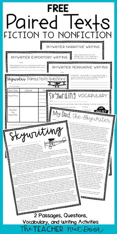 This FREE Paired Text set targets reading comprehension using one fiction and one nonfiction passage on the same skywriting themed topic. It also includes comprehension questions, a vocabulary page, a Reading Lessons, Reading Resources, Reading Skills, Teaching Reading, Reading Strategies, Teaching Ideas, Kindergarten Reading, Preschool Kindergarten, Guided Reading