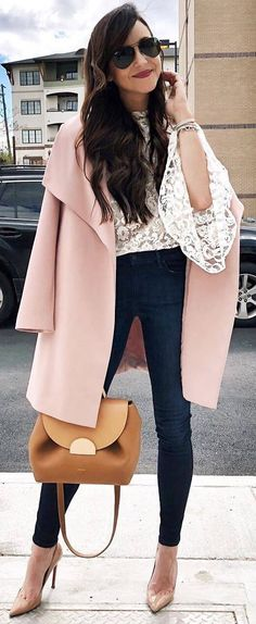 Loe the jeans + lace + pink coat!