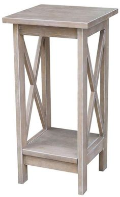 INC International Concepts Solid Wood X-sided Plant Stand in Washed Gray Taupe Woodworking Projects Diy, Wood Projects, Wooden Furniture, Furniture Design, Diy Stool, Oriental Furniture, Concept Home, Solid Oak, End Tables
