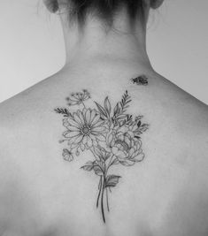 phoenix tattoos on back breathing flames Bee And Flower Tattoo, Flower Bouquet Tattoo, Delicate Flower Tattoo, Bouquet Flowers, Lace Flower Tattoos, Birth Flower Tattoos, Future Tattoos, New Tattoos, Small Tattoos