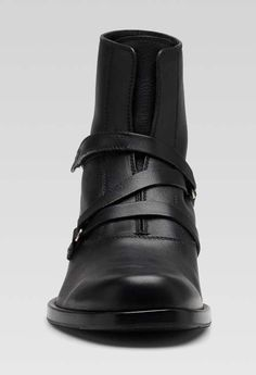 Gucci-black-leather-bootie-with-embossed-gucci-script-logo-2 Mens Ankle Boots, Script Logo, Gucci Men, Gucci Black, Leather Booties, Black Leather, Booty, Shoes, Fashion