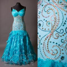 Blue Standard w/ Goose Feathered Bust & Backline w/ Gold Stones & Goose & Ostrich Feather Skirt