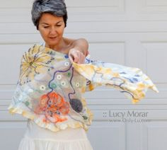 """""""Summer"""" Nuno Felt Art Scarf by Lucy Morar"""