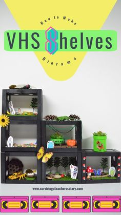 This retro DIY VHS shelf diorama sensory play set makes an amazing trendy design area combined with small world play! We themed ours with scenes from DreamWorks Animation Kipo and the Age of Wonderbeast (AD) but included textured, 3D  stickers, animals, fake grass and trees, and more! Simple tutorial with step by step photos & video. #diy #retro #play #smallworld #sensory #trendy #home #diyhome #kids #littlehands #imagination #art Sensory Activities, Sensory Play, Activities For Kids, Craft Stick Crafts, Fun Crafts, Amazing Crafts, Moss Paint, Play Corner, Imagination Art