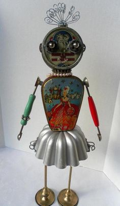 Lynn the Ballerina Bot - found object robot sculpture assemblage. 400.00, via Etsy.