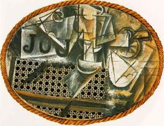 Picasso, Still Life with Chair Caning 1912. 1st fine art collage (or did Braque beat him to it?)- Advent of Synthetic Cubism.