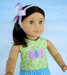 In-The-Hoop  - Halter Top with Heart & Butterfly Applique for 18 Inch Dolls Machine Embroidery 5x7.