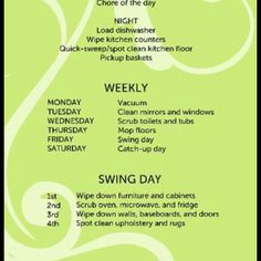 Housework calendar
