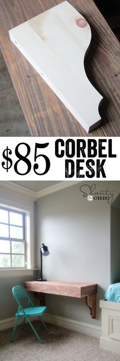 LOVE this DIY Corbel Desk! So cheap and easy too! or smaller/thinner as entry table-- possibly use sophisticated finishes iron paint w/ rust patina on corbels Furniture Projects, Home Projects, Diy Furniture, Hm Deco, Do It Yourself Design, Shanty 2 Chic, Ideias Diy, My New Room, Diy Home Decor