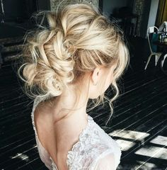 Beautiful updo for your rustic glam wedding