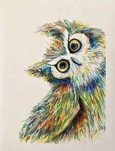 Colourful Quirky Owl Owl Illustration, Illustrations, Owl Head, Owl Artwork, Happy Owl, Using Acrylic Paint, Vintage Owl, Original Artwork, Vibrant Colors