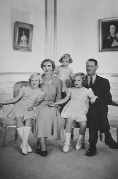 King Frederick IX and Queen Ingrid of Denmark with their children: Princess Margrethe, Princess Anne-Marie and Princess Benedikte. 1949.