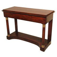Antique French Empire mahogany console w/ormolu mounts