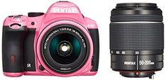 Pentax K-50 16MP Digital SLR Camera Kit with DA L 18-55mm WR f3.5-5.6 and 50-200mm WR Lenses (Pink) - International Version *** Click image for more details.