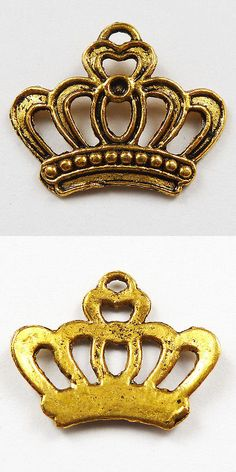 Traditional 64506: Free Ship 1000Pcs Gold Plated Crown Charms 22X18mm BUY IT NOW ONLY: $60.0
