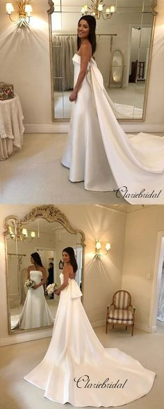 fca55567bbe Elegant Strapless A-line Wedding Dresses