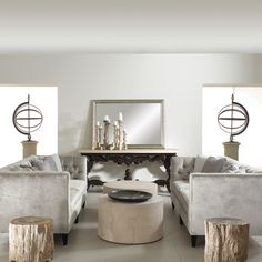 Attirant Bernhardt Interiors. Petrified Wood Side Tables, Mactan Cocktail Table,  Baroque Console Table