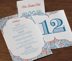 Framed Indian inspired wedding reception menu, place card and table number.  | Invitations by Ajalon | invitationsbyajalon.com