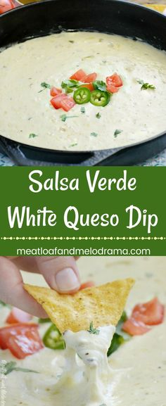 Salsa Verde White Queso Dip - Quick and easy chip dip made with mozzarella and Monterey Jack cheese and green tomatillo salsa. Make it in 15 minutes and keep it warm in the Crock-Pot. Perfect for parties, game day and tailgating! #gamedayfood #partyfood
