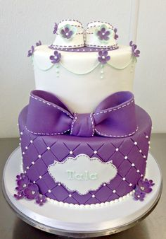 Fancy Baby Shower Cake Fondant Tiered Stacked Baby Shoes Girl Flowers White Purple Diamond Prink Bow Mint Green Ribbon Dots - Fluffy Thoughts Cakes McLean VA Washington DC