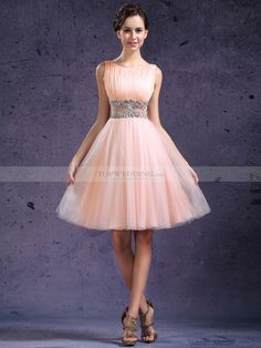 Chiffon and Tulle Graduation Dress with Sheer and Beaded Waist