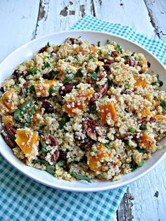 Quinoa with roasted butternut squash and pecans.