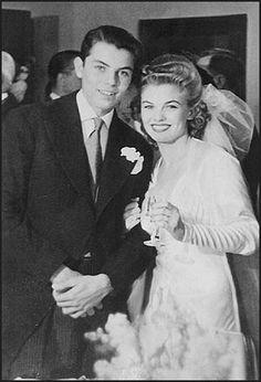 Here's b'day celebrant of today actress Joanne Dru with her brother will be game show host Peter Marshall at her wedding to Dick Haymes in 1941.