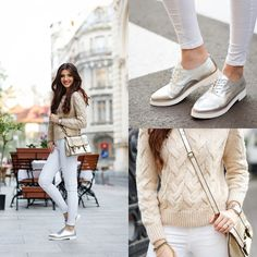 White jeans, metallic oxfords, casual, street style, outfit, fashion