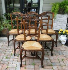 Antique French Tall Dining Chairs Ladder Back Rush Seats Carved stretcher Shells #FrenchCountryProvincial #Craftsmenofftheera