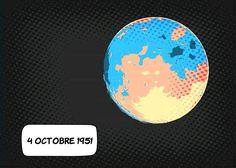 04 octobre 1959 ... Premier vol autour de la lune ... Baïkonour Kazakhstan 02:24 (UTC) : la sonde automatique Lunik III est lancée. Son objectif : révéler la face cachée de la lune. ... Dix-sept clichés seront réceptionnés au terme de 14 jours de voyage et malgré leur qualité médiocre un premier atlas se verra constitué. La conquête spatiale bat son plein l'URSS passe en tête ! ... #histoire #espace #space La Face, Kazakhstan, Purpose, October, Outer Space, Beginning Sounds, Travel