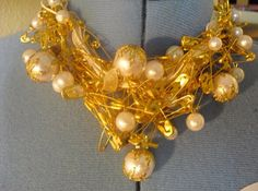 Gold safety pin necklace with pearls by QforCutie on Etsy, $35.00