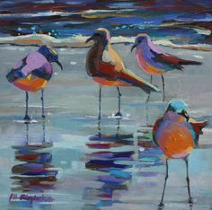 12 X 12 OIL ON HARDBOARD CANVAS PANEL SOLD Gee, these sea birds were feeling colorful today!  Wonder what they are talking about? ...
