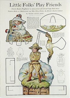 1920s Paper Doll * Little Folks' Play Friends by Henry Anson Hart * Large Full Color Cut-Out page * Ladie's Home Journal?