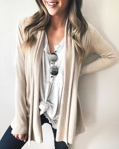 Love the look of light neutral combos.  my top is the one I wore while in CA last month and it looks super cute layered under cardis and jackets tied in a knot!  My cardi is super soft and a great closet staple from @shopreddress - wearing a small! | Linking up my entire outfit at thestyledpress.com or with the @liketoknow.it app! http://liketk.it/2uKi8 #liketkit #RDbabe