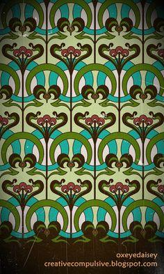 art nouveau surface design- oxeyedaisy