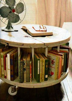 A Very Handy Bookshelf Slash Coffee Table In One Round Vintage