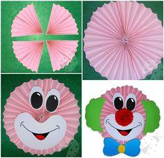 Clown basteln mit Kindern aus Tonpapier, Klorollen, Pappteller und Co. clown to hang tinker rosette basis Clown Crafts, Carnival Crafts, Carnival Themed Party, Frog Crafts, Preschool Crafts, Spring Crafts For Kids, Halloween Crafts For Kids, Easy Crafts For Kids, Cute Crafts
