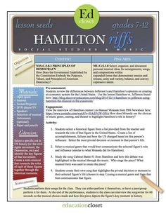 Arts Integration Lesson: Hamilton Riffs