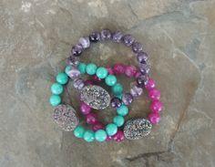 Druzy Bracelets - Gemstone Bracelets - Druzy Jewelry - Gemstone Jewelry - lelizabethjewelry on Etsy - Lauren Elizabeth Jewelry
