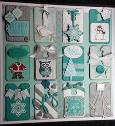 12 x 12 holiday shadow box  by Elaine Beaudry, All is Calm and Chalk talk Holiday Shadow box.  Stampin' Up!