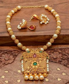 One Gram Gold Plated Necklace with Jhumka ~ South India Jewels Gold Necklace Simple, Gold Plated Necklace, Simple Jewelry, Gold Jewellery Design, Gold Jewelry, Jewelry Patterns, Necklace Designs, Indian Jewelry, Wedding Jewelry