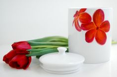 Hand-Painted Plumeria Porcelain Canister $48 by Mary Elizabeth Arts
