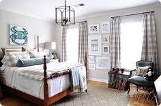 buffalo check curtains; lantern; bedding