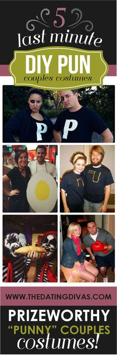 50 DIY Couples Halloween Costumes...Featuring a Familiar Couple in the 5 Last Minute DIY Pun Costumes Round-Up (hint hint) via www.TheDatingDivas.com