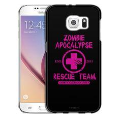 Samsung Galaxy S6 Zombie Apocalypse 2012 Rescue Team Pink on Black Slim Case