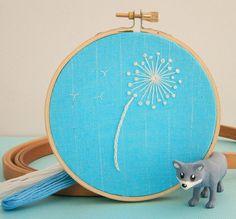 Dandelion Embroidery Hoop Wall Art by LittleGrayFox on Etsy, $15.00