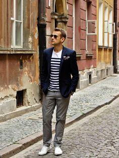 Stripes, navy blazer