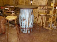 This round turquoise Pub Table, with matching stools is available. This would be a fabulous choice for a game room or family room! Check out our website for more info! www.casadelsoldesigns.com Rustic Pine Furniture, Cabinet Hardware, Bird Houses, Game Room, Bar Stools, Home Accessories, Family Room, Pottery, Turquoise